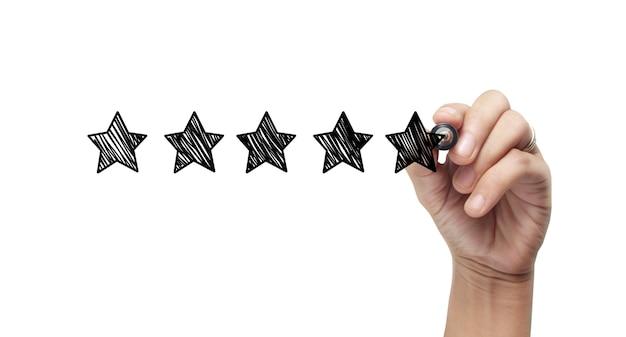 Desenhe à mão uma classificação de cinco estrelas