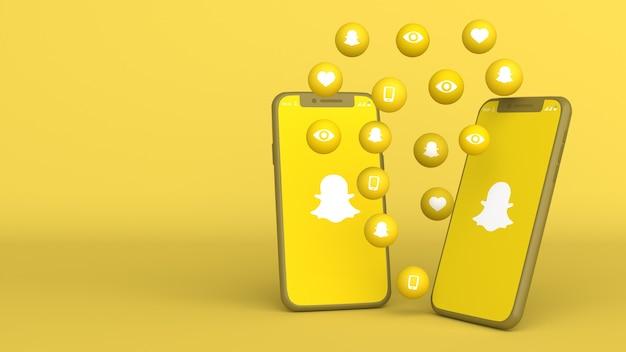 Desenho 3d de dois telefones com ícones pop-up do snapchat