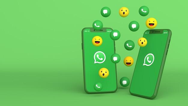 Desenho 3d de dois telefones com ícones pop-up do whatsapp
