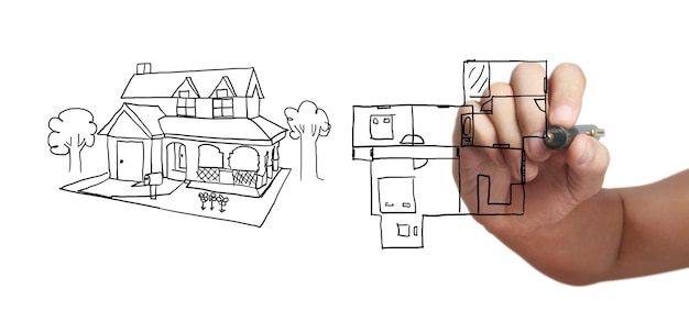 Desenho à mão conceito da casa dos sonhos desenhado pelo designer