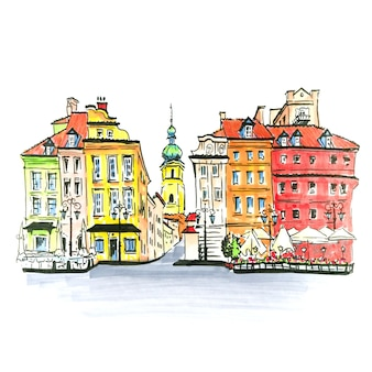 Desenho à mão de cor, praça do castelo, rua piwna e torre sineira da igreja de st. martin na cidade velha de varsóvia, polônia. forro e marcadores feitos de imagem