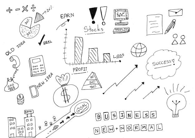 Desenho à mão de ícones de negócios em personagem de desenho animado, com tinta preta, em papel branco