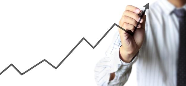 Desenho à mão de um gráfico, gráfico de estoque de crescimento