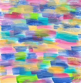 Desenho à mão feito à mão com pinceladas de acrílico colorido de fundo de cores vivas de tinta