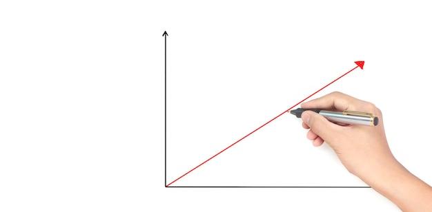 Desenho à mão um gráfico, gráfico de estoque de crescimento