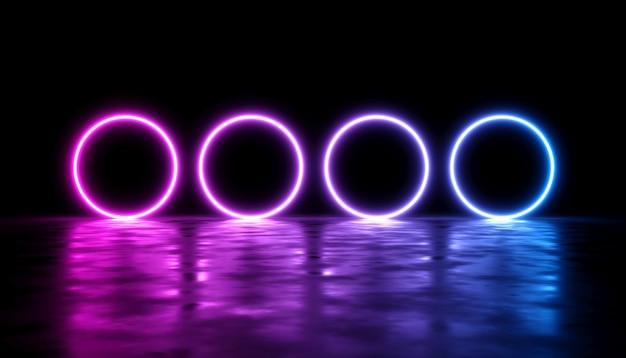 Desenho abstrato com brilho de laser neon em um fundo escuro, ilustração 3d