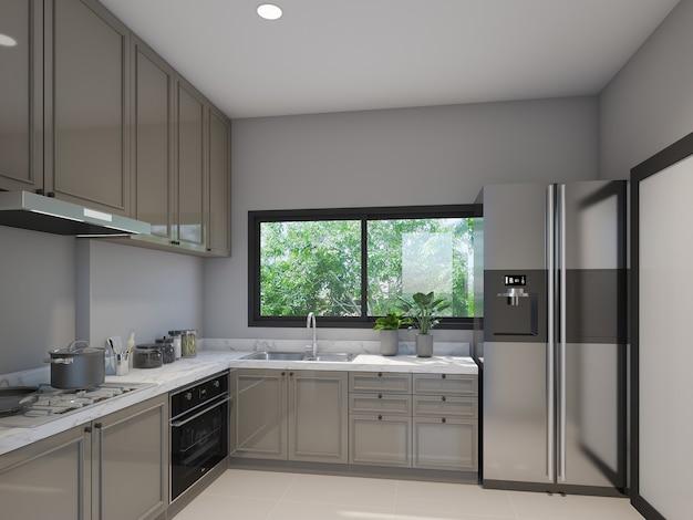 Desenho abstrato da sala da cozinha, renderização em 3d