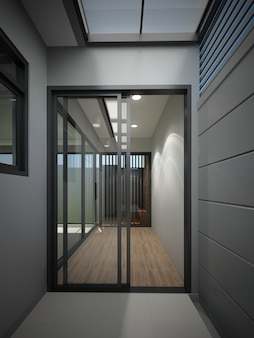 Desenho abstrato de casa interior, renderização em 3d