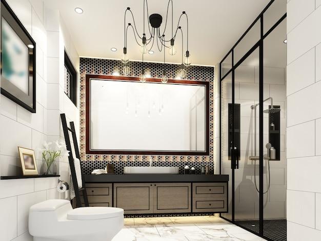 Desenho abstrato do banheiro interior, renderização em 3d