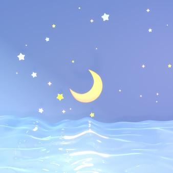 Desenho animado à meia-noite, mar e estrelas, imagem renderizada em 3d