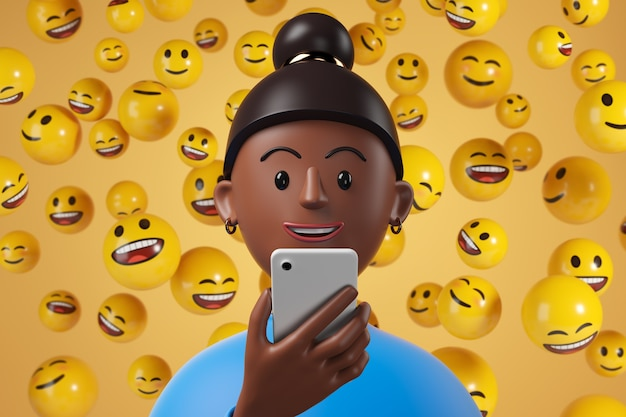 Desenho animado afro-americana mulher com camisa azul, usando o smartphone com personagens de emoji amarelos caindo no fundo. ilustração 3d render.