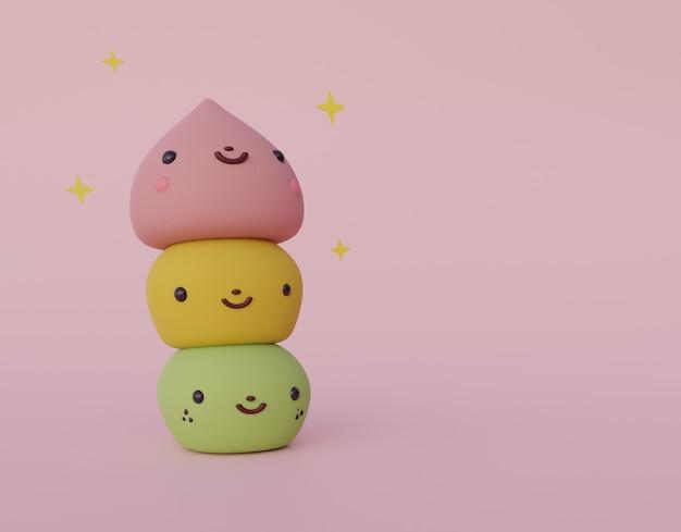 Desenho animado bonito mochi japonês doce deserto 3d render comida doce
