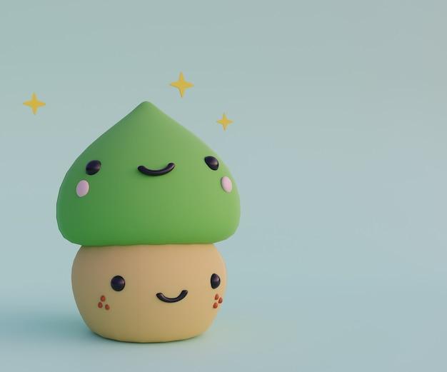 Desenho animado bonito mochi japonês doce deserto 3d render ilustração de alimentos doces