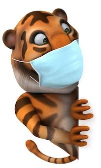 Desenho animado de tigre com máscara