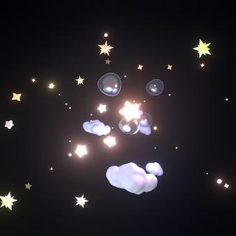 Desenho animado estrelas brilhantes, nuvens brancas e bolhas no céu à noite imagem renderizada em 3d