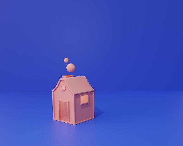Desenho animado, minúscula casa rosa, ilustração fofa renderização em 3d