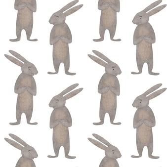 Desenho coelho fofinho clipart aquarela lebre coelhinho da páscoa elemento de design padrão sem emenda para crianças