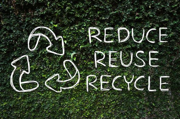 Desenho da mão reduzir - reutilizar - símbolo de reciclagem com fundo verde da natureza.