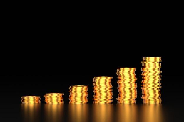 Desenho de bandeira de moedas de ouro. renderização 3d.