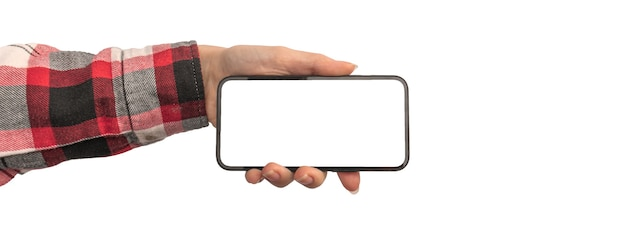 Desenho de banner maquete de tela branca em branco de telefone celular ou smartphone em mão feminina, copie o espaço e isolado em uma foto de fundo branco