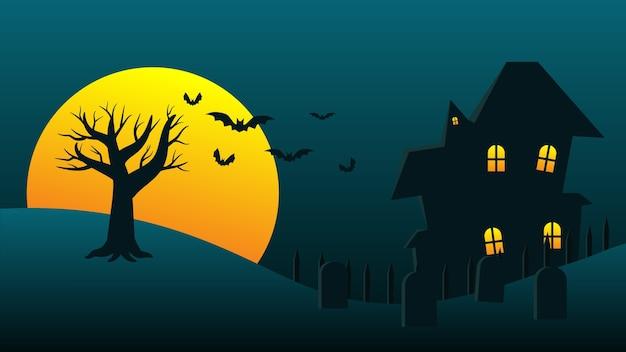 Desenho de casa assombrada de fundo de festa de feriado de halloween feliz com lua e morcegos para decoração