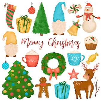 Desenho de clipart de natal, conjunto grande ano novo, boneco de neve, gnomos, árvore de natal, cervos, bolos, presentes