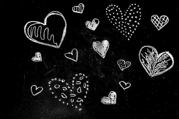 Desenho de corações de giz