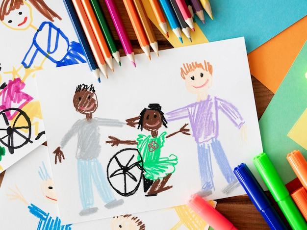 Desenho de criança com deficiência e amigos