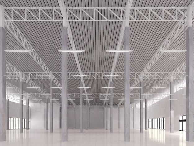 Desenho de esboço de armazém interior, renderização 3d