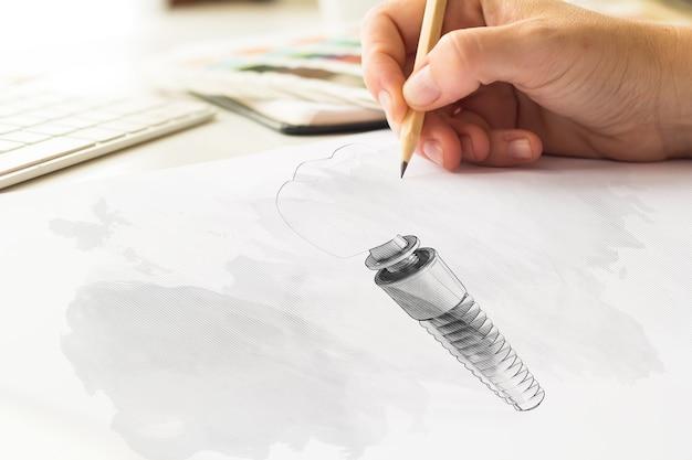 Desenho de esboço de dente de implante dentário