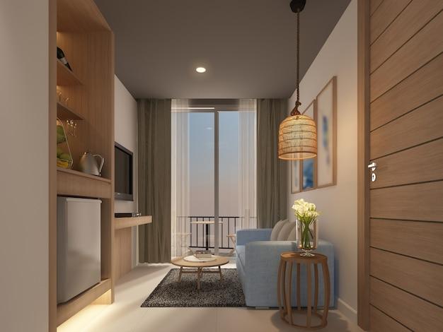 Desenho de esboço de sala de estar interior, renderização em 3d