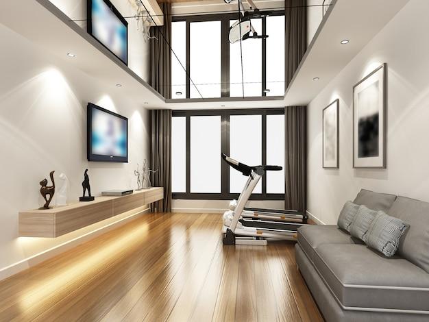 Desenho de esboço de sala de estar, renderização em 3d