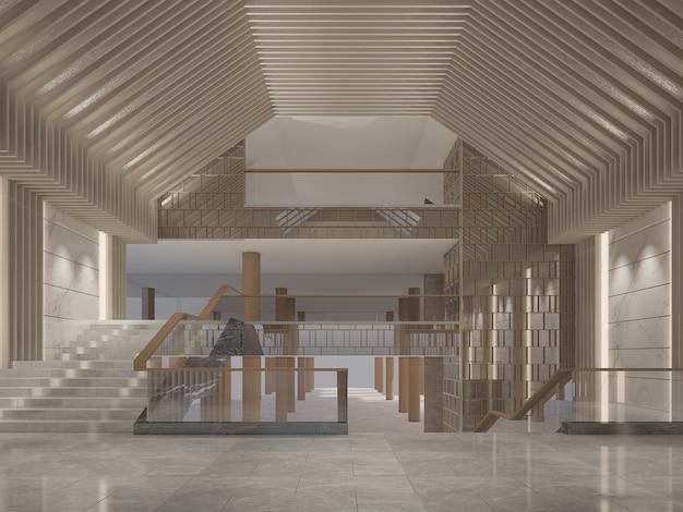 Desenho de esboço de salão interior, renderização em 3d