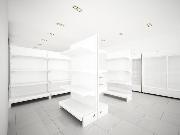 Desenho de esboço de supermercado, renderização em 3d