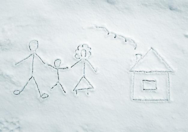 Desenho de família com casa na neve