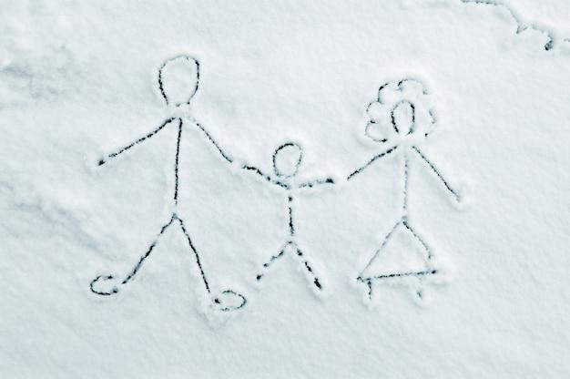 Desenho de família na neve