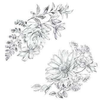 Desenho de flores grapic pintados à mão. ilustração em preto e branco do buquê de flores.