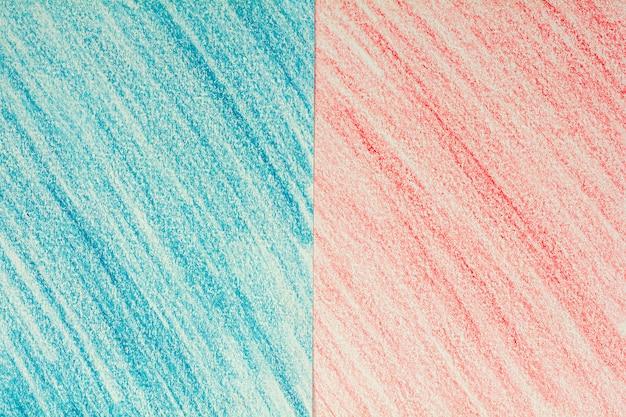 Desenho de giz de cera azul e vermelho em papel