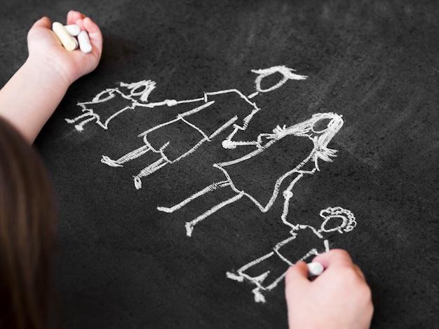 Desenho de giz do conceito de família feito no quadro-negro