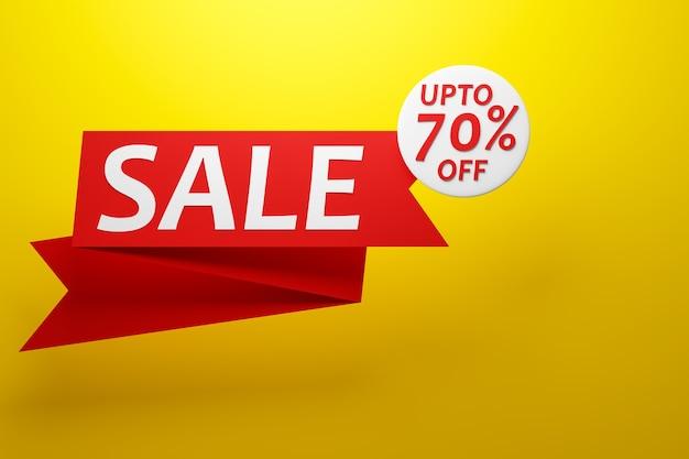 Desenho de ilustração 3d de um banner em uma fita vermelha para mega grandes vendas com a venda de inscrição e desconto de 70%.
