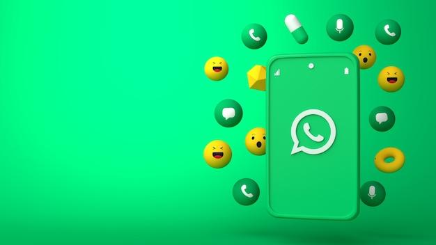 Desenho de ilustração 3d do telefone whatsapp e ícones pop-up