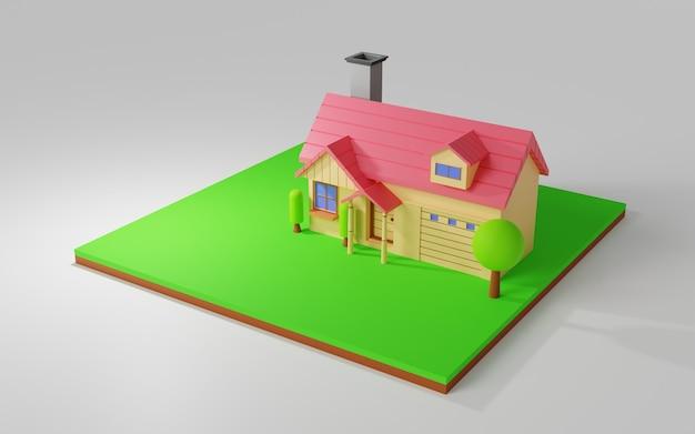 Desenho de ilustração de casa 3d