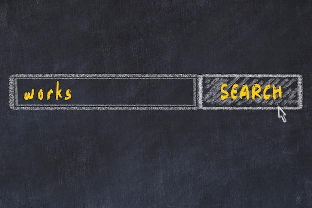 Desenho de lousa da janela do navegador de pesquisa e obras de inscrição