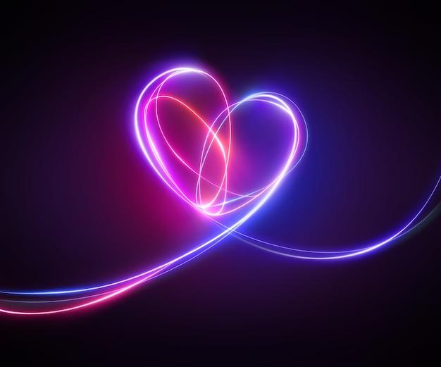 Desenho de luz de néon rosa violeta de doodle de coração abstrato