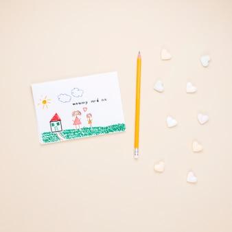 Desenho, de, mãe criança, com, lápis