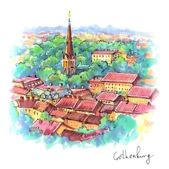 Desenho de marcador da cidade velha de gotemburgo, suécia.