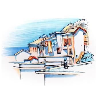 Desenho de marcador da vila de pescadores de manarola, ligúria, itália.