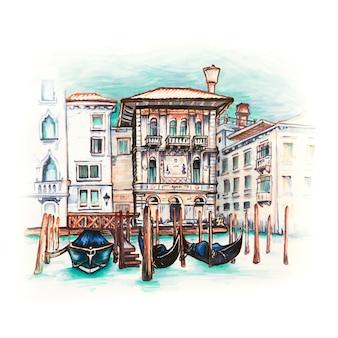 Desenho de marcador do palazzo no grande canal em veneza, itália