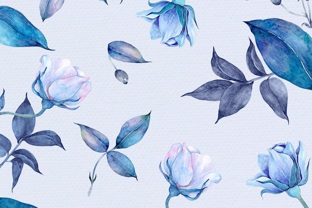 Desenho de padrão de flor rosa aquarela azul