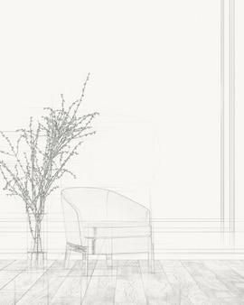 Desenho de sala de estar. desenho à mão livre
